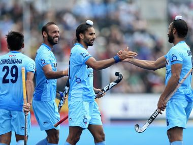 Akashdeep Singh celebrates scoring the fifth goal for India against Pakistan on 18 June. Getty Images