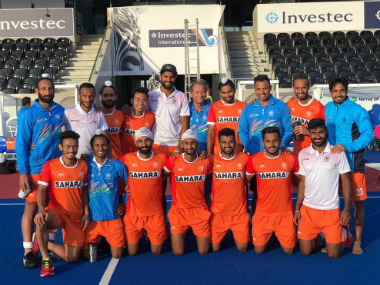 The Indian men's national hockey team pose ahead of Hockey World League. Image courtesy: Twitter/@imranirampal