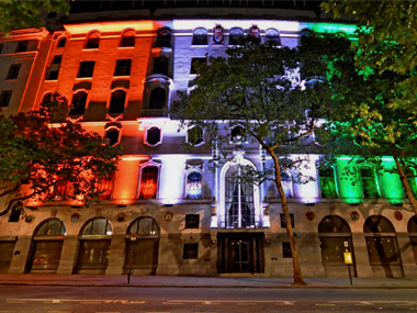The Indian High Commission in London is decorated with energy efficient tricolour lights as part of a pact with India's Energy Efficiency Services Limited (EESL). PTI