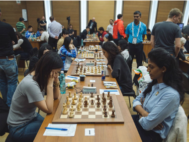 Indian women in action at World Team Chess Championship. Image courtesy: Twitter/@Chessbaseindia