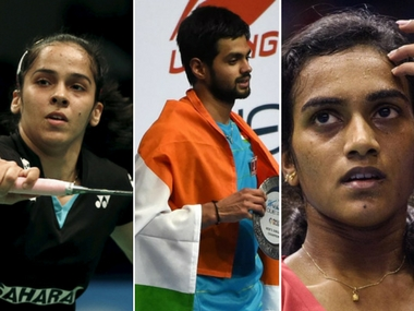 India's hopes at Indonesia SSP will rest on PV Sindhu (R), Saina Nehwal (L) and B Sai Praneeth (C). AFP