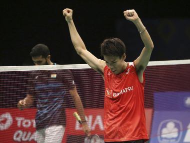 Japan's Kazumasa Sakai celebrate after defeating India's HS Prannoy in the semi-final. AP