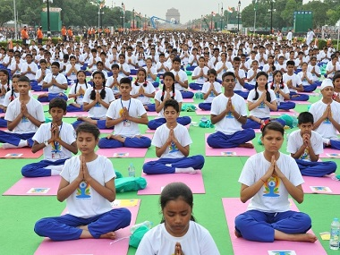 File mage of Yoga Day observation in New Delhi. PTI
