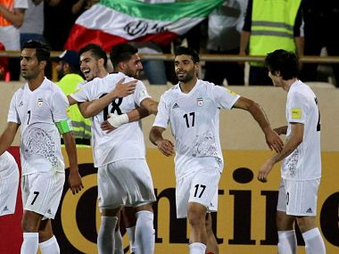 Iran's Football team celebrating after qualifying for FIFA 2018 World Cup. Image courtest: Twitter/@FIFAWorldCup