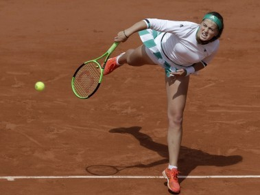 Jelena Ostapenko in action at the French Open. AP