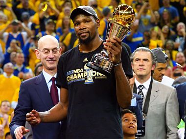 Golden State Warriors' Kevin Durant after winning the NBA Finals MVP. Reuters
