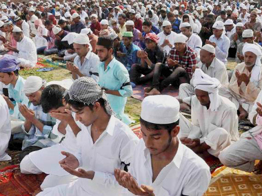 Muslims offer Eid prayers at village Khandawli, from where Junaid hailed, in Faridabad. PTI