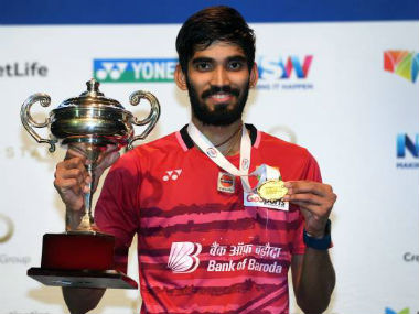 Kidambi Srikanth poses with the trophy after winning the Australia Superseries. Getty Images