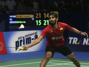 Kidambi Srikanth plays against South Korea's Son Wan-ho during their Indonesia Open semi-final on Saturday. AP Photo