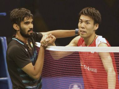 Srikanth Kidambi, left, shakes hands with Kazumasa Sakai after winning their final. PTI
