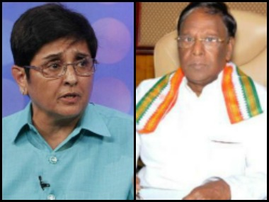 Puducherry LG Kiran Bedi (left) and Chief Minister V Narayanasamy. News18
