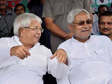 Nitish Kumar accepted Lalu Yadav's support in 2015. PTI file image