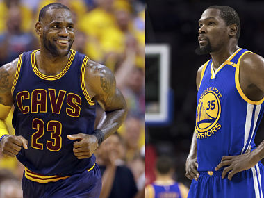 File picture of LeBron James (L) and Kevin Durant (R). AP