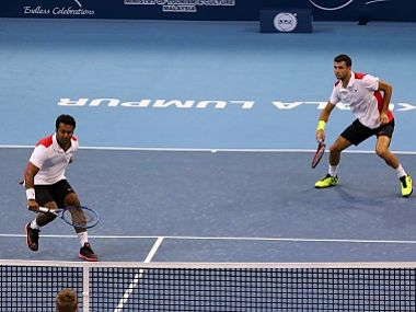 File image of Leander Paes of India with Grigor Dimitrov of Bulgaria. Getty Images
