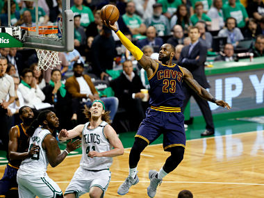 Cleveland Cavaliers forward LeBron James (23) attempts a layup against the Boston Celtics. Reuters