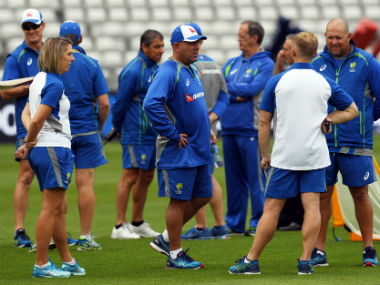 Australia's head coach Darren Lehmann takes part in a training session at Edgbaston cricket ground in Birmingham, ahead of their forthcoming ICC Champions Trophy cricket match against New Zealand. AFP