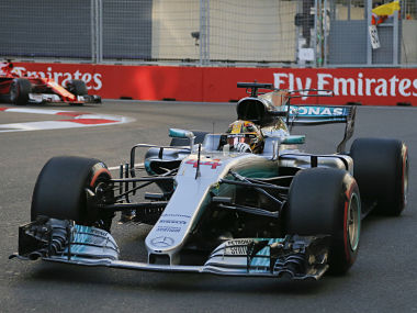 Mercedes driver Lewis Hamilton during the Formula One Grand Prix of Europe in Azerbaijan. AP