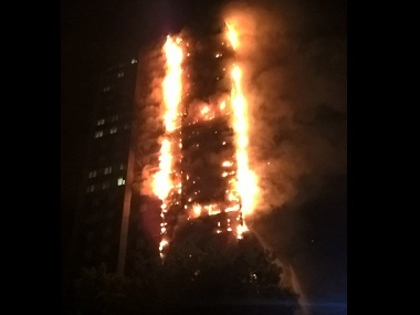 The raging fire at Grenfell Tower. Image courtesy: Twitter