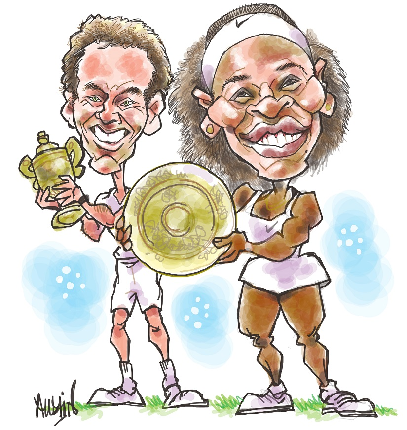 Andy Murray and Serena Williams at Wimbledon. Illustration courtesy Austin Coutinho
