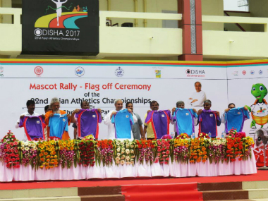 Chief Minister of Odisha Naveen Patnaik unveils the official mascot and logo of Asian Athletics Championships in Bhubaneshwar. Image Courtesy: Twitter/@asianathletics