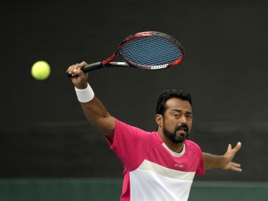 India tennis player, Leander Paes plays a shot during a training session at the Balewadi Sports Complex in Pune on February 2, 2017. The three-day Davis Cup Tennis tournamnet tie between India and New Zealand begins on February 3 in Pune. / AFP PHOTO / PUNIT PARANJPE