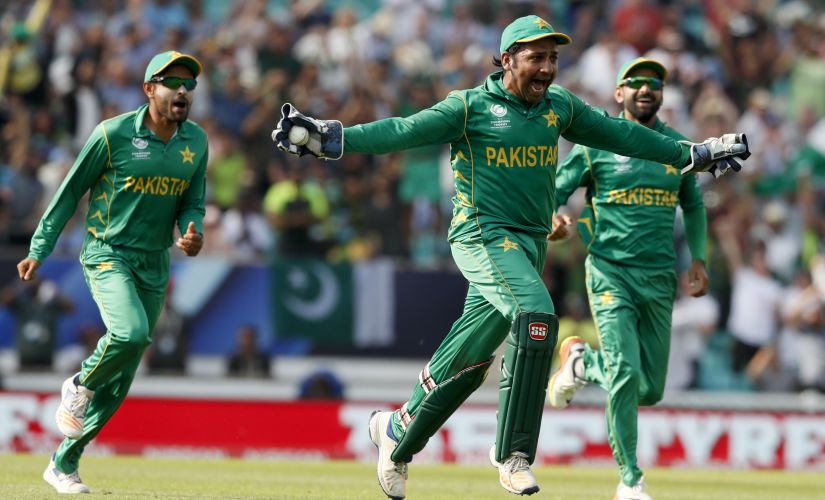 Pakistan captain Sarfraz Ahmed celebrating after beating India in the CHampions Trophy final at The Oval. AP