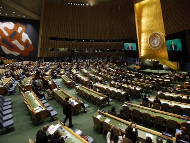 United Nations Secretary General Ban Ki-moon addresses a high-level event on the entry into force of the Paris Agreement on climate change during the 71st session of the U.N. General Assembly at U.N. Headquarters, Wednesday, Sept. 21, 2016. AP