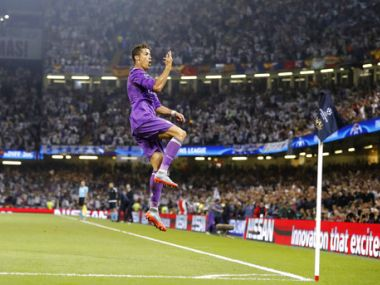 Real Madrid's Cristiano Ronaldo celebrates after scoring the opening goal against Juventus. AP