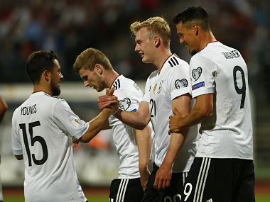 Football Soccer - Germany v San Marino - 2018 World Cup Qualifying European Zone - Group C - Stadion Nurnberg, Nuremberg - June 10, 2017 Germany's Julian Brandt celebrates scoring their sixth goal with team mates Reuters / Michaela Rehle Livepic - RTS16IUZ