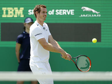 Great Britain's Andy Murray in action during an exhibition. Reuters
