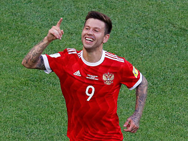 Russia's Fedor Smolov celebrates scoring their second goal REUTERS