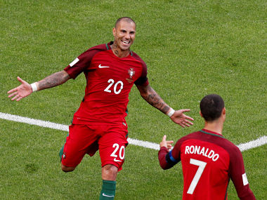Football - Portugal's Ricardo Quaresma celebrates scoring their first goal with Cristiano Ronaldo REUTERS