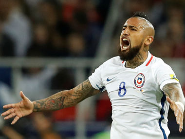 Chile's Arturo Vidal reacts after scoring the goal. REUTERS