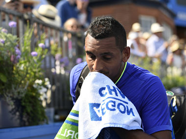 Britain Tennis - Aegon Championships - Queen's Club, London - June 19, 2017 Australia's Nick Kyrgios looks dejected after retiring from his first round match against USA's Donald Young Action Images via Reuters / Tony O'Brien Livepic EDITORIAL USE ONLY. - RTS17PX8