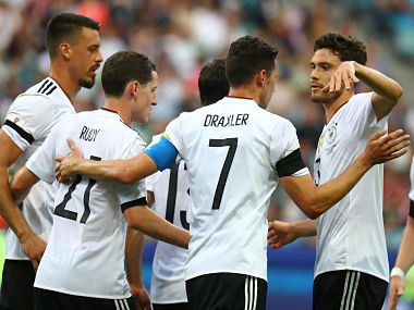 Soccer Football - Australia v Germany - FIFA Confederations Cup Russia 2017 - Group B - Fisht Stadium, Sochi, Russia - June 19, 2017 Germany's Julian Draxler celebrates with teammates after scoring their second goal REUTERS/Kai Pfaffenbach - RTS17QG7