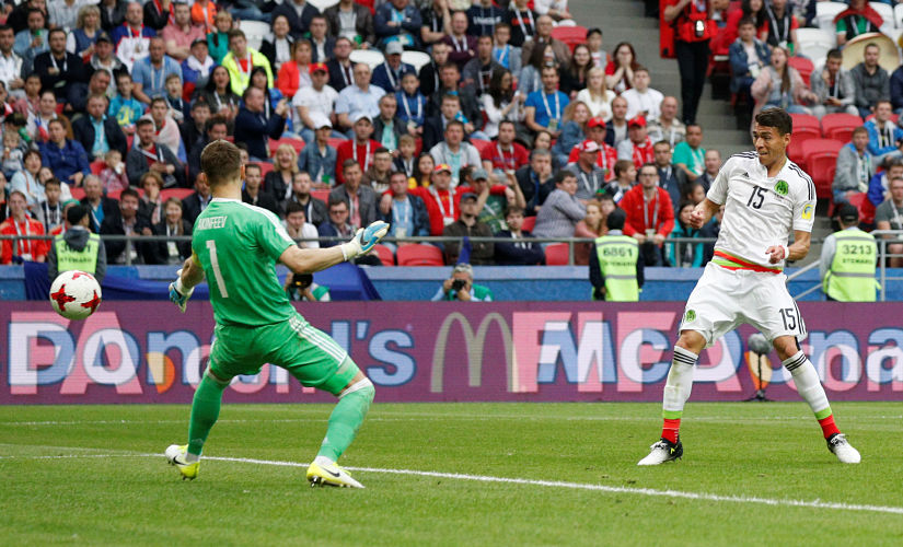 Soccer Football - Mexico v Russia - FIFA Confederations Cup Russia 2017 - Group A - Kazan Arena, Kazan, Russia - June 24, 2017 Mexico's Hector Moreno scores but the goal is disallowed REUTERS/Maxim Shemetov - RTS18HD3