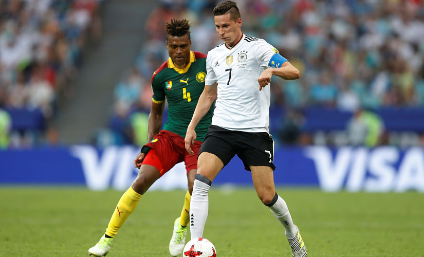 Soccer Football - Germany v Cameroon - FIFA Confederations Cup Russia 2017 - Group B - Fisht Stadium, Sochi, Russia - June 25, 2017 Germany's Julian Draxler in action with Cameroon's Adolphe Teikeu REUTERS/Carl Recine - RTS18KIZ