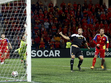 Belgium's Laurent Depoitre (2nd R) scores a goal against Andorra's goalkeeper Ferran Pol during their Euro 2016 Group B qualifying soccer match at Estadi Nacional stadium in Andorra la Vella, Andorra, October 10, 2015. REUTERS/Albert Gea - RTS3WPU