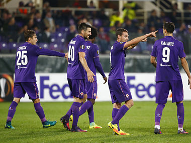 Football Soccer - ACF Fiorentina v Slovan Liberec - UEFA Europa League Group Stage - Group J - Artemio Franchi Stadium, Florence, Italy - 3/11/16 Fiorentina's Sebastian Cristoforo celebrates scoring their third goal with teammates Reuters / Tony Gentile Livepic EDITORIAL USE ONLY. - RTX2RTCE
