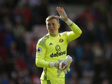 "Britain Football Soccer - Sunderland v Swansea City - Premier League - Stadium of Light - 13/5/17 Sunderland's Jordan Pickford acknowledges fans after the game Action Images via Reuters / Andrew Boyers Livepic EDITORIAL USE ONLY. No use with unauthorized audio, video, data, fixture lists, club/league logos or ""live"" services. Online in-match use limited to 45 images, no video emulation. No use in betting, games or single club/league/player publications. Please contact your account representative for further details. - RTX35OEU"
