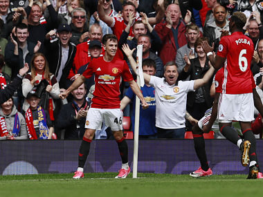 """Britain Football Soccer - Manchester United v Crystal Palace - Premier League - Old Trafford - 21/5/17 Manchester United's Josh Harrop celebrates scoring their first goal Action Images via Reuters / Jason Cairnduff Livepic EDITORIAL USE ONLY. No use with unauthorized audio, video, data, fixture lists, club/league logos or """"live"""" services. Online in-match use limited to 45 images, no video emulation. No use in betting, games or single club/league/player publications. Please contact your account representative for further details. - RTX36U8M"""