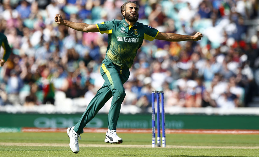 South Africa's Imran Tahir celebrates after taking the wicket of Sri Lanka's Chamara Kapugedera. Reuters