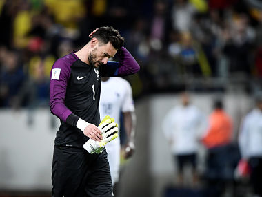 Soccer Football - Sweden v France - FIFA World Cup Qualifier, Group A - Friends Arena - Stockholm, Sweden - 09/06/17 France's goalkeeper Hugo Lloris reacts after Sweden scored 2-1. Marcus Ericsson/TT News Agency/via REUTERS ATTENTION EDITORS - THIS IMAGE WAS PROVIDED BY A THIRD PARTY. FOR EDITORIAL USE ONLY. NOT FOR SALE FOR MARKETING OR ADVERTISING CAMPAIGNS. THIS PICTURE IS DISTRIBUTED EXACTLY AS RECEIVED BY REUTERS, AS A SERVICE TO CLIENTS. SWEDEN OUT. NO COMMERCIAL OR EDITORIAL SALES IN SWEDEN. NO COMMERCIAL SALES. - RTX39WJB