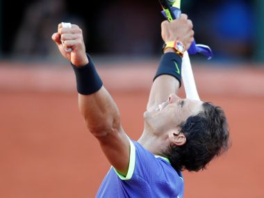 Rafael Nadal celebrates winning his semi-final match against Dominic Thiem. Reuters