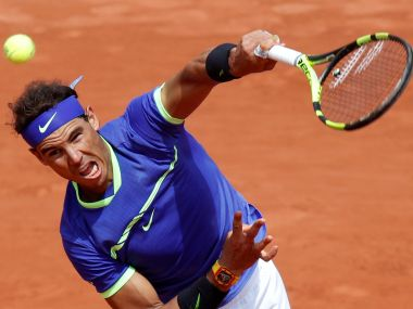 Rafael Nadal in action during his fourth round match at the French Open. Reuters