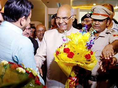 BJP leaders receive Bihar Governor Ram Nath Kovind with bouquets upon his arrival in New Delhi. PTI