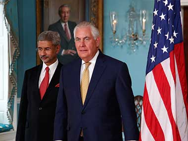 File image of US Secretary of State Rex Tillerson and Indian Foreign Secretary Subrahmanyam Jaishankar. AP