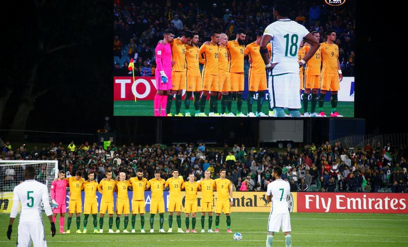 Soccer Football - Australia v Saudi Arabia - World Cup 2018 Qualifiers - Adelaide Oval, Adelaide, Australia - 08/06/2017 The Australian team stand together as they observe a minute's silence for victims of the London attacks, in which two Australians died. REUTERS/David Gray - RTX39QGJ