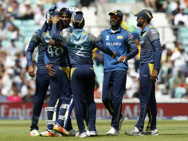 Sri Lanka's Nuwan Pradeep celebrates the wicket of South Africa's Quinton De Kock. PA via AP