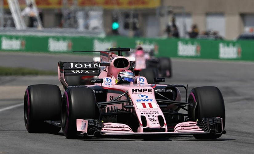 Sergio Perez of Force India driving ahead of teammate Estaban Ocon during the Canadian Grand Prix. Getty